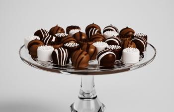 巧克力豆甜品食物模型玻璃托盘餐具C4D模型