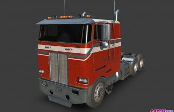 1985款彼得比尔特362卡车头牵引车货车汽车C4D模型 peterbilt 362 1985