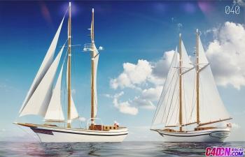 C4D模型 海洋帆船船只交通模型