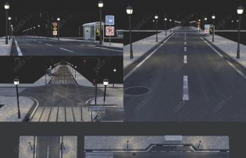 C4D夜晚道路和巴士站路灯组合模型 Road and busstop
