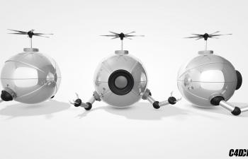 C4D球形可飞行工业探险作业机器人模型