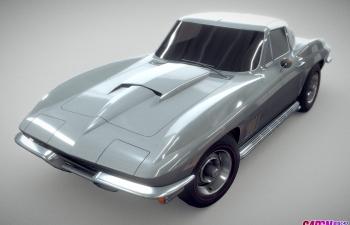 1967款雪佛兰科尔维特超跑轿跑汽车C4D模型 chevrolet Corvette 1967