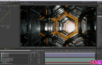 C4D+AE教程 科幻栏目包装六边形蜂窝结构无限循环穿梭教程(含工程)