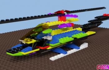 乐高积木搭建直升飞机建模生长动画C4D教程(含xpresso含工程文件)