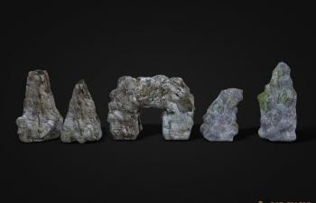 五块写实石头模型Stone