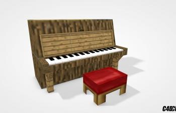 C4D模型 MC我的世界钢琴