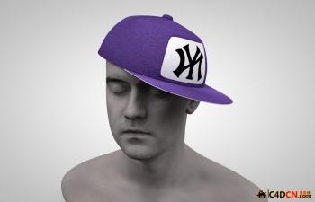C4D时尚滑板帽 大盖帽 帽子模型