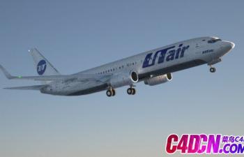 C4D模型 波音737-800航空公司飞机客机模型