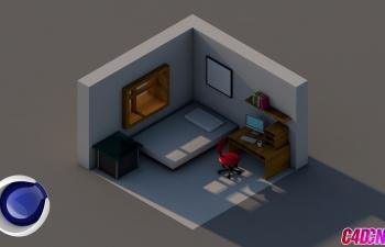 C4D教程 卡通房屋展览风格室内建模渲染教程